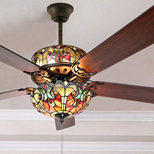 River of Goods Tiffany Style 52 Inch Width Stained Glass Halston LED Ceiling Fan, Spice