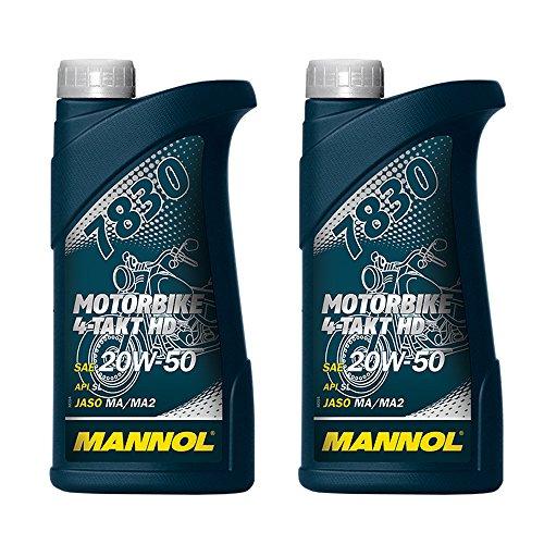 Mannol 2 x 1000 ml, 7830 Motocicleta de 4 tiempos HD API SL 20 W-50 aceite de moto