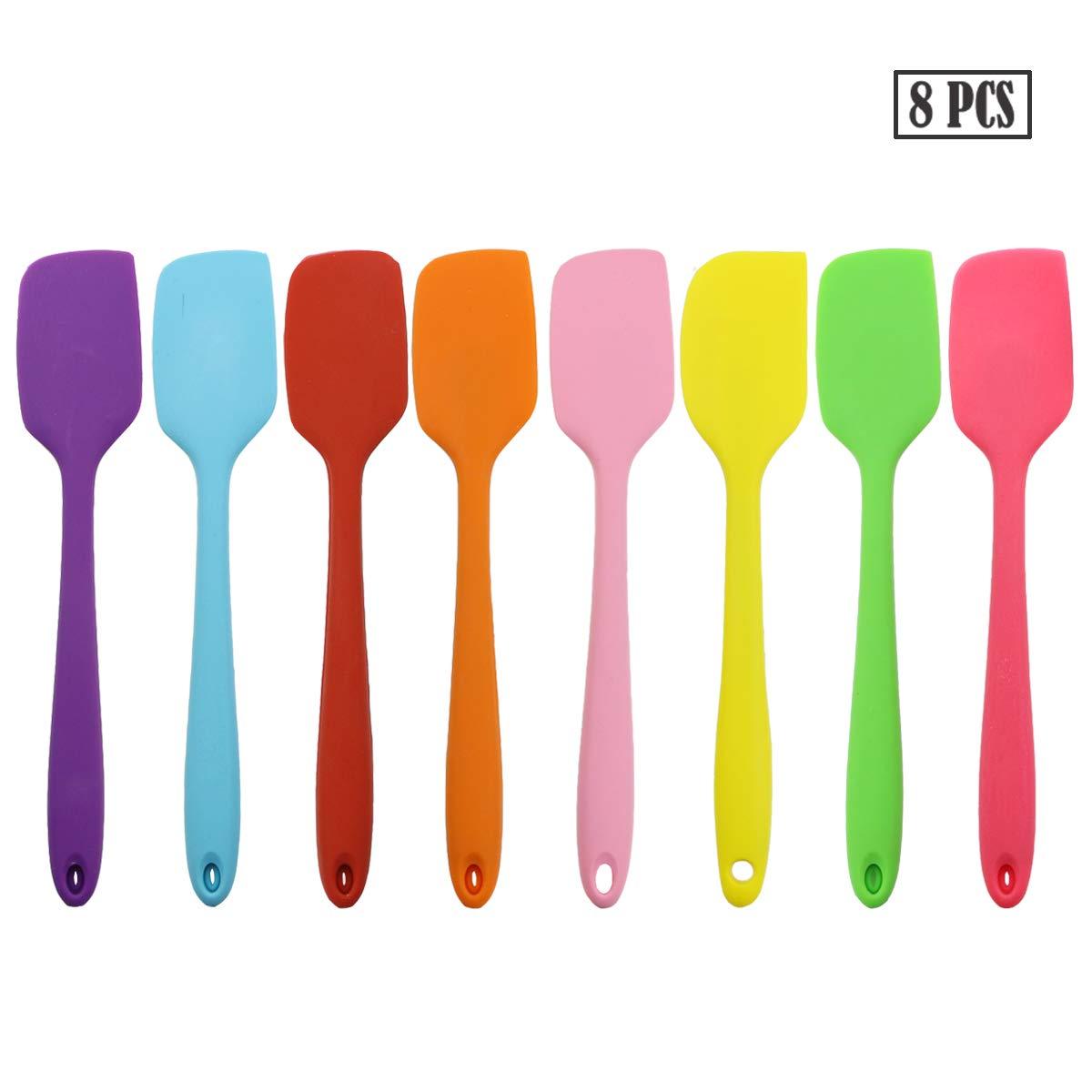TWDRer 17 x Silikon-Spachtel hitzebeständig antihaftbeschichtet flexibler  Gummi massiv Edelstahl Küche Essential Gadget Premium Schaber Schaber