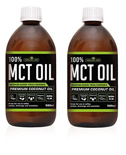 Natures Aid 100% MCT Oil - Premium Coconut Oil 500ml (Pack of 2)