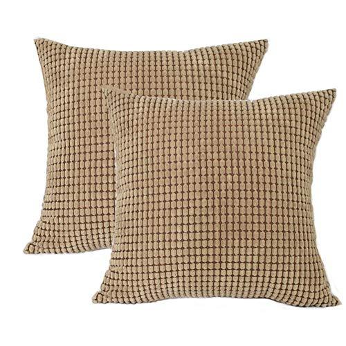 Toruiwa - 2 fundas de cojín (40 x 40 cm, terciopelo, decorativas, funda de almohada para decoración del hogar, dormitorio, salón, oficina, color beige 40 x 40 cm), marrón claro, 45 x 45 cm