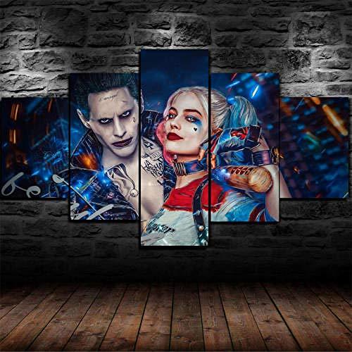 Cuadro Sobre Lienzo 5 Piezas Impresión En Lienzo Ancho: 150Cm, Altura: 100Cm Listo Para Colgar-Joker Y Harley Quinn Suicide Squad En Un Marco