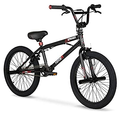 Experiment with Tricks Ride to Meet Up with Friends 20 inch Hyper Spinner Gloss Black with Red Accent BMX Bike by HYPR
