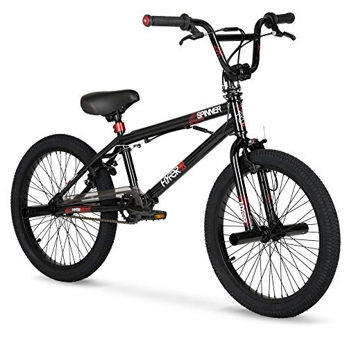 Experiment with Tricks Ride to Meet Up with Friends 20 inch Hyper Spinner Gloss Black with Red Accent BMX Bike