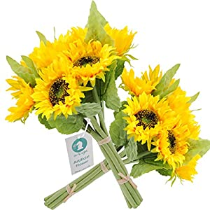 """cn-Knight Artificial Flowers 2pcs 14"""" Sunflower Bouquets with 7pcs Silk Flowers for Wedding Bridal Bouquet Bridesmaid Home Decor Housewarming Gift Centerpieces Office Baby Shower Reception(Yellow)"""