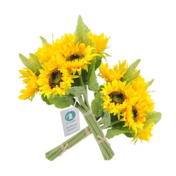 "cn-Knight Artificial Flowers 2pcs 14"" Sunflower Bouquets with 7pcs Silk Flowers for Wedding Bridal Bouquet Bridesmaid Home Decor Housewarming Gift Centerpieces Office Baby Shower Reception"