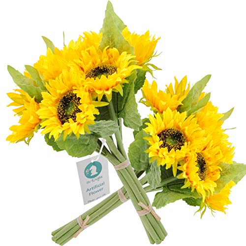 cn-Knight Artificial Flowers 2pcs 14'' Sunflower Bouquets with 7pcs Silk Flowers for Wedding Bridal Bouquet Bridesmaid Home Decor Housewarming Gift Centerpieces Office Baby Shower Reception(Yellow)