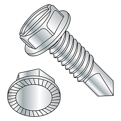 Steel Self-Drilling Screw, Zinc Plated Finish, Serrated Hex Washer Head, Slotted Drive, #3 Drill Point, 5/16