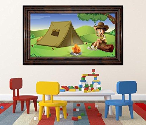 3D Wandtattoo Zelt zelten Kinderzimmer Feuer Pfadfinder selbstklebend Wandbild Tattoo Wohnzimmer Wand Aufkleber 11L598, Wandbild Größe F:ca. 97cmx57cm