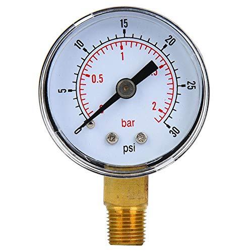 LetCart Luftdruckmesser - Mechanischer Manometer 1/8-Zoll-BSPT-Bodenanschluss für Luftöl Wasser(0-30psi,0-2bar)