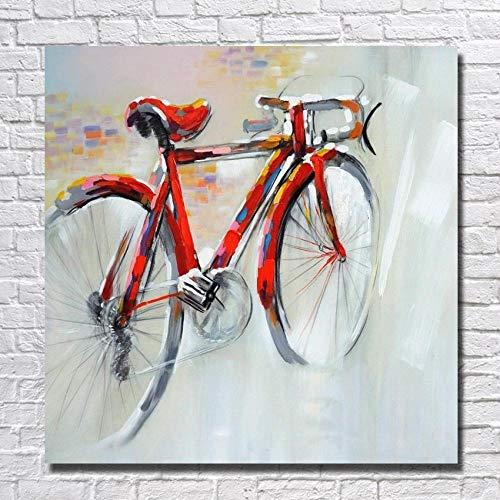 WunM Studio olieverfschilderij op canvas met de hand geschilderd, abstract stilleven, rode fiets, grote afmetingen, moderne muurkunst wooncultuur voor binnen woonkamer slaapkamer kantoor 110×110 cm