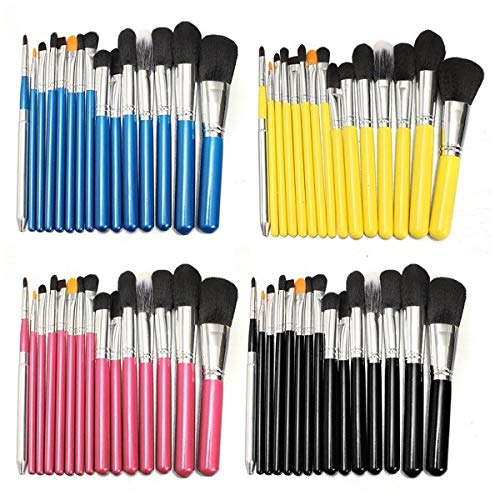 Delighted 15Pcs Makeup Brushes Eye Shadow Foundation Blush Powder Cream Cosmetic Tools Black Pink Blue Yellow