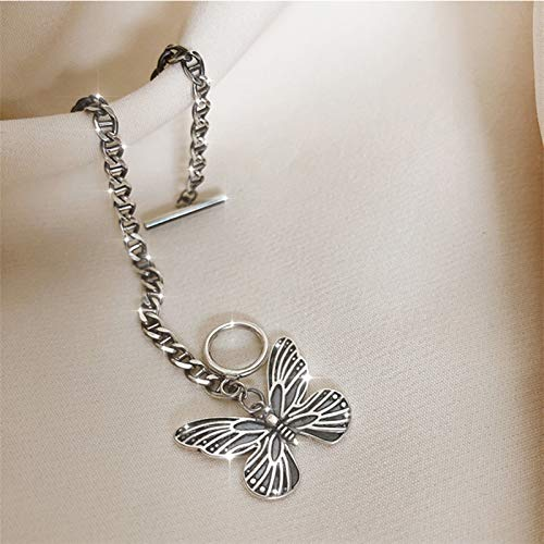 Pulseras de plata de ley 925 con diseño de mariposa para mujeres y niñas, elegante pulsera (color de gema: plata)
