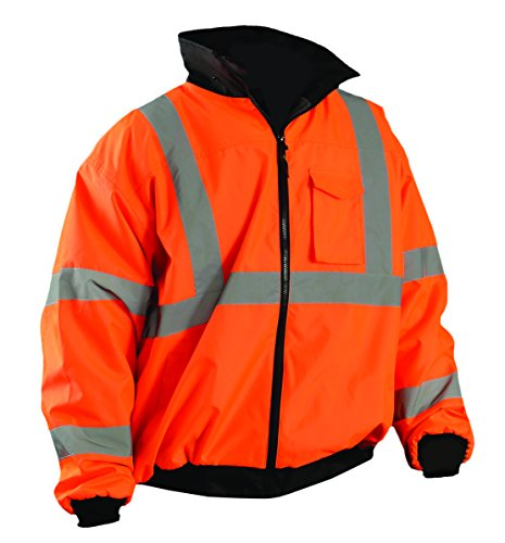 OccuNomix LUX-ETJBJ-O2X High Visibility Fleece Lined Bomber Jacket with Roll-Away Hood and 4 Pockets, Waterproof & Sealed Seams, Class 3, 100% ANSI Polyester, 2X-Large, Orange