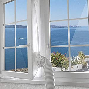 YQing 400CM Universal Window Seal for Portable Air Conditioner And Tumble Dryer, Hot Air Stop for All Mobile Air Conditioning Unit, with Zip and Strong Hook Tape, Easy to Install