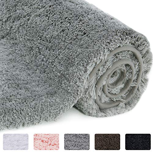Lifewit Bathroom Rug Bath Mat 32'x20' Non-Slip Soft Shower Rug Plush Microfiber Water Absorbent Thick Shaggy Floor Mats, Machine Washable, Grey