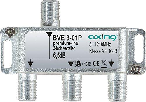 Axing BVE 3-01P 3-fach Verteiler Kabelfernsehen CATV Multimedia DVB-T2 Klasse A+, 10dB, 5-1218 MHz metall