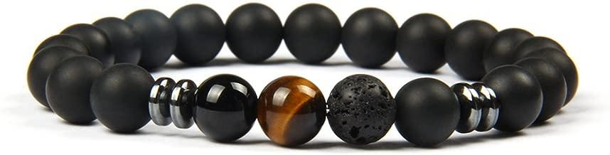 Gd GOOD.designs - Handmade Gemstone Matte Black Onyx Bead - Chakra Bracelet for Men and Women
