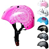 SkullCap® Kids BMX & Skate Helmet - Bicicleta Y Scooter Eléctrico, Diseño: Pink Mandala, Talla: S