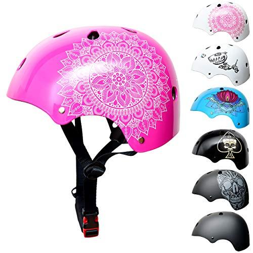 Skullcap BMX Helm - Frauen Mädchen Skaterhelm - Damen Fahrradhelm & Weiß-Pinker Kinderhelm, Pink Rosa Mandala S (53 - 55 cm)