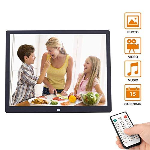ZQYR Electronic# 15 Inch HD Digitaler Bilderrahmen 1024 * 768 Auflösung Anzeigeverhältnis 4: 3 mit MP3, E-Book, Kalender, Fernbedienung, Schwarz