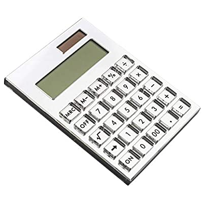 E&O Acrylic Calculator,Solar Power,12 Digits LCD Display,Modern Elegant Desk Accessory,Office Home Electronics,Business Present Ideas (Mirror Silver)……