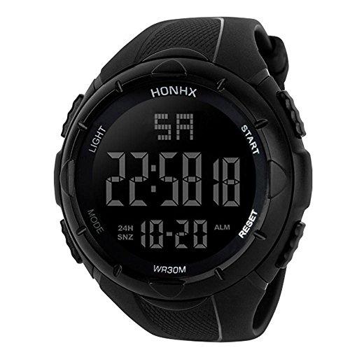 Reloj digital impermeable para hombre, KanLin1986 Reloj LED digital deportivo para mujer Fecha de alarma Reloj impermeable con banda elástica(No presione ninguna tecla debajo del agua) (Negro)