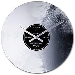 NeXtime Silver Record Wall Clock, Silver/Black