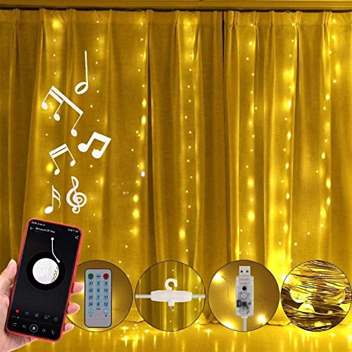 ACDES Luz de cortina LED Colorida, control remoto, 7 colores, 8 modos de iluminación, con fuente de alimentación USB DC5V, adecuado para bodas, banquetes, jardín, dormitorio, decoración interior y ext
