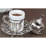 (12 Colors) Turkish Greek Armenian Arabic Coffee Espresso Cup and Saucer with Handle Lid Inner Porcelain for Serving and Drinking Vintage Home Gift 2.2 oz (Silver thin tulip)