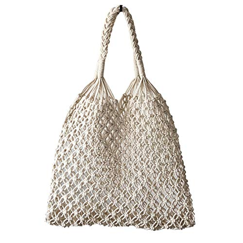 Hixixi Cotton Rope Travel Beach Fishing Net Handbag Shopping Woven Shoulder Bag for Women Girls (White)