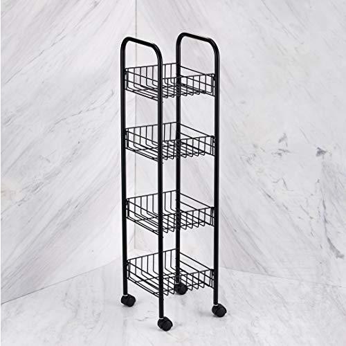 VINN DUNN BESPOKE 4 Tier Mobile Storage Rack, Kitchen Trolley on Wheels for Food Storage with 4 Baskets Serving Cart, 4 tier Bathroom Trolley | MATT BLACK