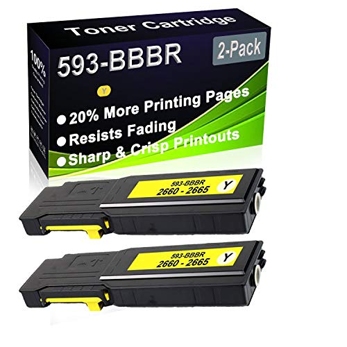 2-Pack (Yellow) Compatible C2660, C2660dn, C2665dnf Laser Toner Cartridge (High Capacity) Replacement for Dell 593-BBBR (YR3W3) Printer Toner Cartridge
