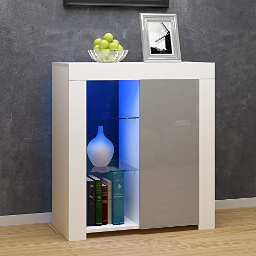 Ruication Sideboard Cabinet Matt Body and High Gloss Fronts Multicolor LED Lights Furniture Display Unit for Living Room Dining Room Kitchen Bathroom Bedroom Hallway (White & Grey)