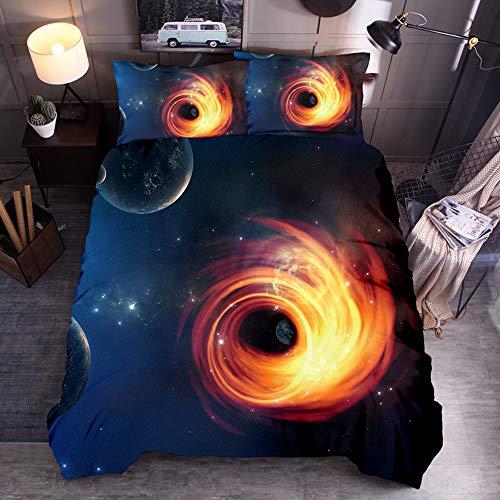 Sticker superb Le Premier Noir Trou Profond Univers Nébuleuse Espace Parures de Lit avec Taie d'oreiller,Galaxie Planète Astronomie Étoile Cosmos Lune Bleu Housse de Couette (Graphique 3, 220x240cm)