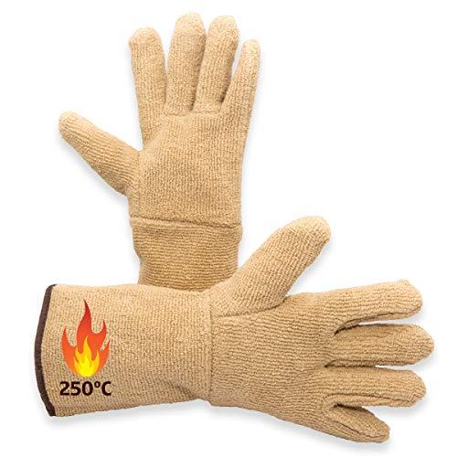 Guantes de Cocina para Horno Profesionales. Manoplas Protectoras para Uso en Barbacoa, Parrilla, Chimenea, Cocina de leña, Resistentes a Altas temperaturas de 250 ºC.