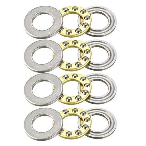 Sourcingmap - Rodamientos de bolas de empuje en miniatura (acero cromado), F10-18M (4Qty)