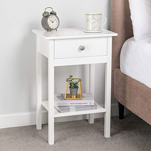 CHRISTOW White Bedside Table With Shelf & Drawer Bedroom Nightstand 60cm x 40cm x 30cm