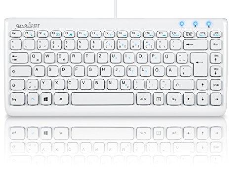 Perixx PERIBOARD-407W DE, Mini Tastatur - USB - 320x140x14mm Abmessung - Klavierlack Weiss - QWERTZ DE Layout