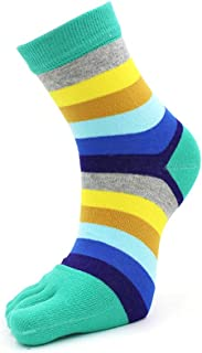 Women's Five Finger Socks Colorful Stripped Cotton 5 Toe Socks for Women (Blue-green)