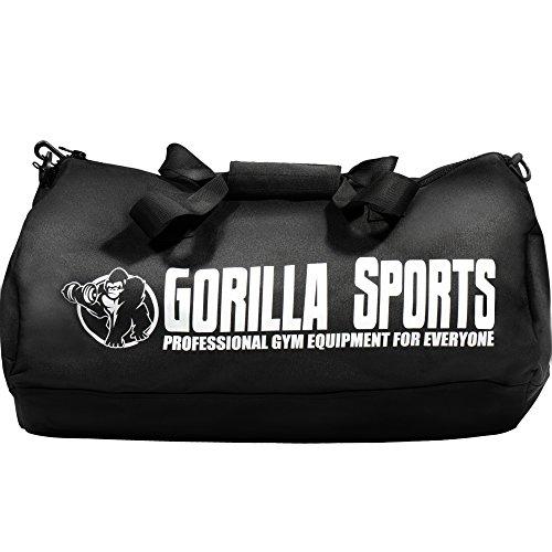 GORILLA SPORTS® Sporttasche Groß mit Tragegurt Schwarz – Fitness-Bag für Herren/Damen