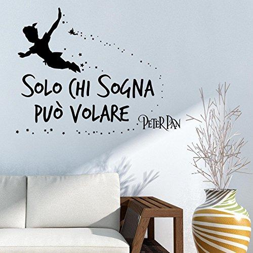 Adesiviamo Solo chi sogna può volare - Peter Pan Tinkerbell Wall Sticker Adesivo da Muro