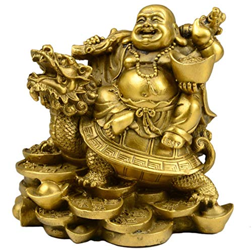 xiulin Feng Shui Bronze Dragon Tortoise Maitreya Buddha Smile Buddha Copper Ingot Interior Decoration Home Furnishing Lucky red String Set