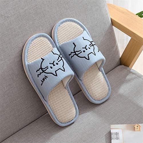 ZZNVS Mujer Moda casa Zapatos Piso Confort Hembra Pareja Estilo Interior Mujeres Suave casa Plana Gato Zapatillas algodón Invierno Caliente (Color : Blue, Shoe Size : 8.5)