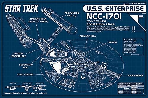 Star Trek Poster NCC-1701 Blueprint (91,5cm x 61cm) + Original tesa Powerstrips® (1 Pack/20 STK.)