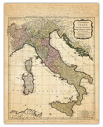 Vintage Italy Map Wall Art Print - (11x14) Photo Unframed Make Great Room Wall Decor Gift Idea Under $15