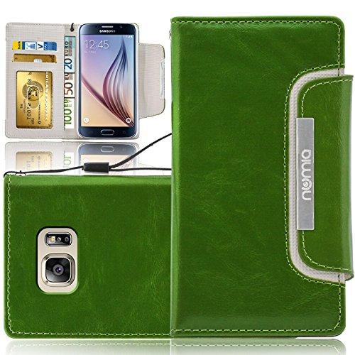 Samsung Galaxy S6 Edge Hülle, numia Handyhülle Handy Schutzhülle [Book-Style Handytasche mit Standfunktion und Kartenfach] Pu Leder Tasche für Samsung Galaxy S6 Edge SM-G925 Case Cover [Grün-Weiss]