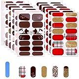 MWOOT Autocollant Ongles Nail Art, 12 Feuilles Autocollants Auto-Adhésifs, Feuilles Complètes pour Conception des Ongles, Ensemble de Décoration pour Ongles, Red Glitter Full Nails Wraps Sticker