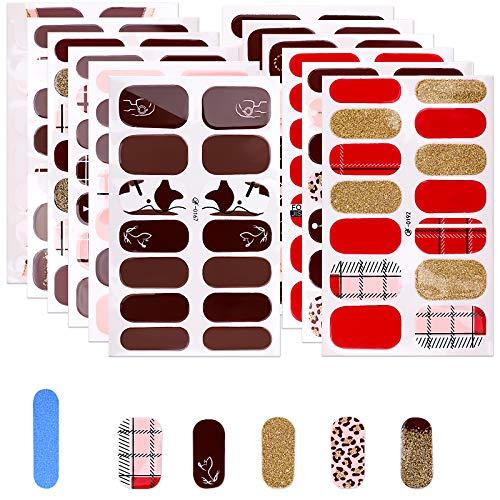 MWOOT Selbstklebend Nagelfolie, 12 Stück Nagel Sticker für DIY Nagelkunst, Schnell&Einfach Maniküre Nagelaufkleber, Nageldesign Klebefolien -Rot Glitter Nail Art Wraps Sticker