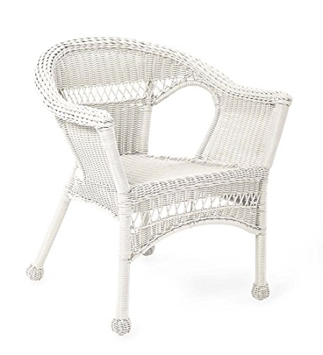 Plow & Hearth 39002-BWH Resin Wicker Outdoor Patio Chair, Bright White